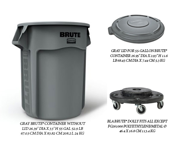 Rubbermaid BruteTrash container, 55 gallon capacity, round top, with two handles, lid, and Dolly